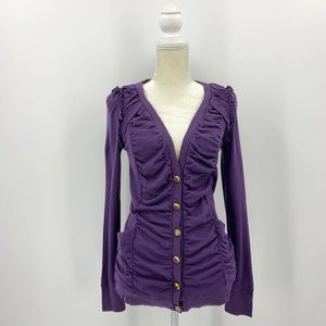 Leifsdottir Purple Wool Cashmere Blend Cardigan